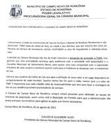COMUNICADO AOS CONTRIBUINTES E CIDADÃOS DE CAMPO NOVO DE RONDÔNIA.