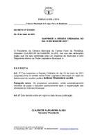 DECRETO LEGISLATIVO SUSPENDE A SESSÃO ORDINÁRIA NO DIA 10 DE MAIO DE 2021.